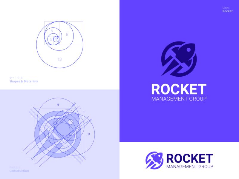 Rocket logo process grid golden ratio awesome fantastic speed icon management rocket professional flat outstanding logo illustration design modern minimal custom creative amazing