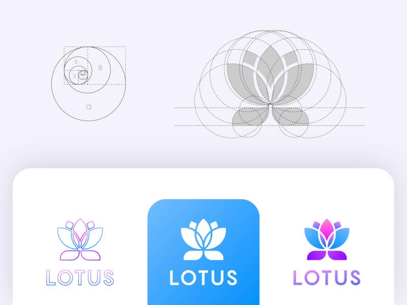 Lotus Logo grid best nice beautiful fantastic colorful lotus flower brand professional flat design outstanding modern minimal logo illustration custom creative amazing