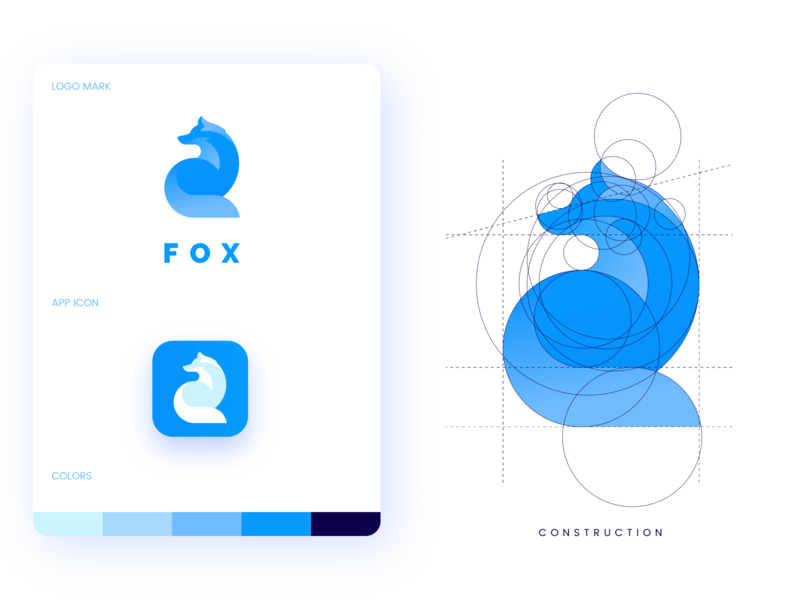 Fox Logo geometric process gradient grid golden ratio branding design brand identity animal fox professional design outstanding modern branding minimal logo illustration custom creative amazing