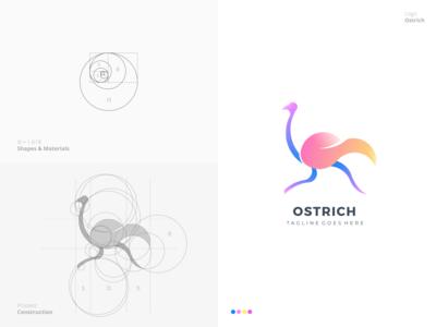 Ostrich Logo geometric fantastic popular process grid golden ratio branding colorful ostrich bird professional design outstanding modern minimal logo illustration custom creative amazing