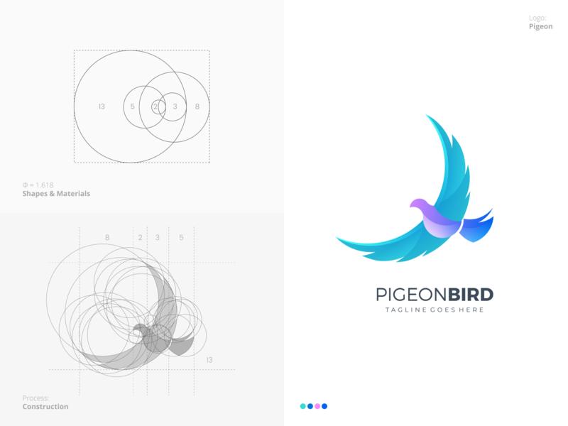 Pigeon Logo process grid golden ratio top best fantastic awesome elegant bird pigeon professional outstanding modern minimal design custom logo creative illustration amazing