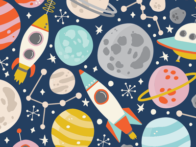 Space pattern design surface design patterns pattern vector stars constellation rockets planets moon rocket space
