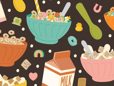 Cereal Time froot loops lucky charms surface design surface pattern pattern design marshmallow breakfast milk cereal pattern