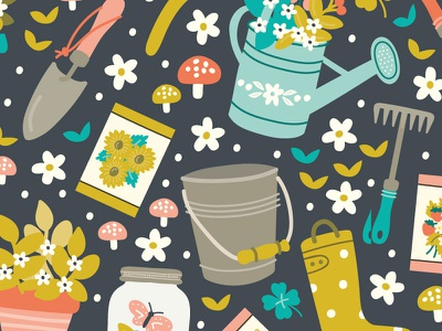 Gardening pattern design bloom succulent tools cangardening designwatering patternsurface surface pattern