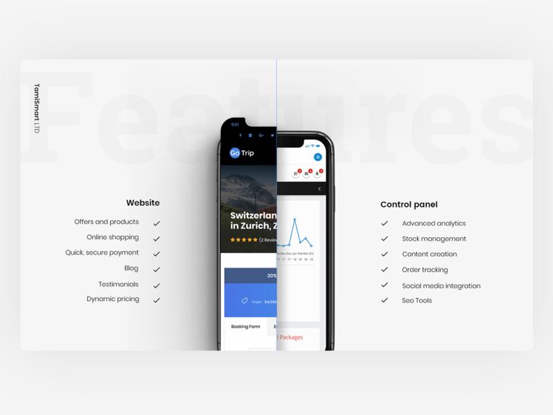 Gotrip: Product features slide responsive control panel feathers sales pitchdeck presentation design