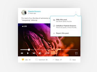 Social Video Post Card like button share video options social network material design card post social app uiux ui