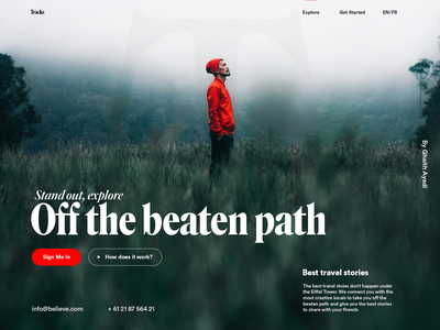 Hero section design for local travel guides agency abovethefold landign page hero area hero stories path agency guide travel website platform adobe xd ui