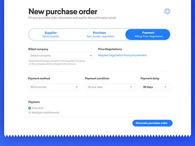 Purchase order application web design ux  ui uxui ux design font supplier billing payments payment purchase application wizard typography website platform adobe xd ui