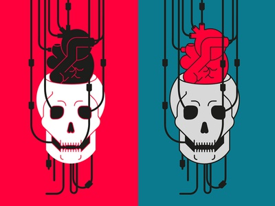 Scull vector heart scull