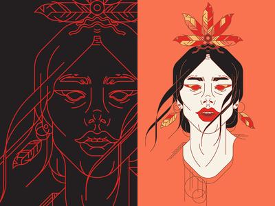 Shaman portait illuatration native shaman art face