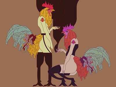 Roosters iluustrator illustrtation adobe art vector dragqueen rooster