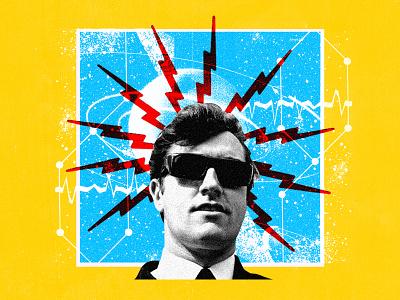 meek vintage retro futuristic sci fi space blue yellow art illustration graphic design digital music collage joe meek
