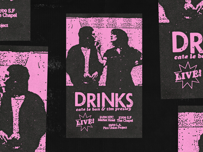 drinks poster black halftone gigposter tour pink texture photocopy xerox punk music poster