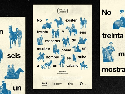 no existen 36 maneras graphic typographic type collage blue caballo film design poster movie horse