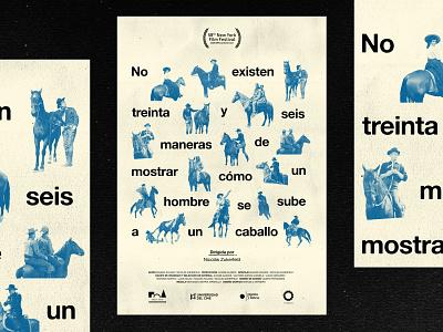 no existen 36 maneras graphic typographic type collage blue caballo film design poster movie horse