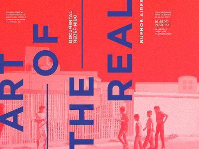 art of the real blue red typogaphy poster design festival film documentary identity design