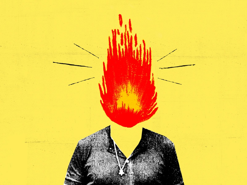 Hot Head illustration collage head fire