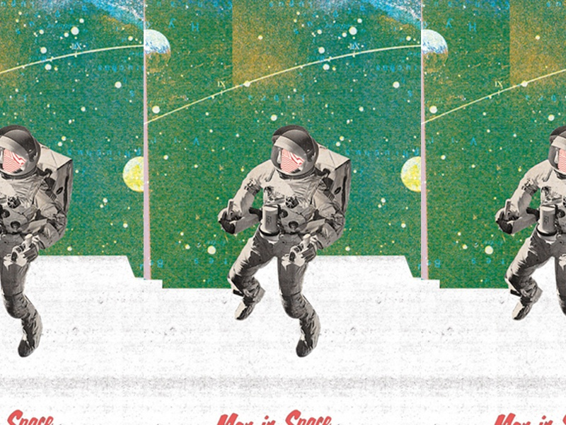 man in space green art graphic design experimental collage astronaut space