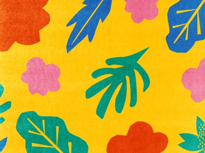Plants forms colorful yellow nature flower plants collage cut out illustration pattern