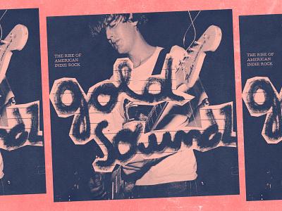 gold soundz handtype handwritten collage handmade lo fi punk mixtape rock guitar blue pink hlaftone grunge