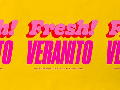 fresh veranito typography logo design vintage retro pink fun summer yellow colorful fresh logo