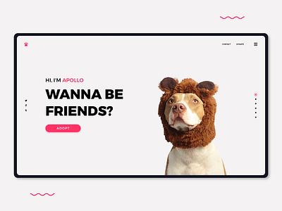 Pet - Landing Page visual pets web design minimal landing page website ux ui adobe xd grapgic design design