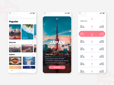 Travelling App trip visual concept travel airplane interface traveling japan minimal booking grapgic design adobe xd design app ux ui