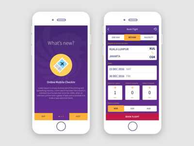 Mobile Ticket Booking App for Airline ux design user experience app design mobile app ui design ux ui airline mobile