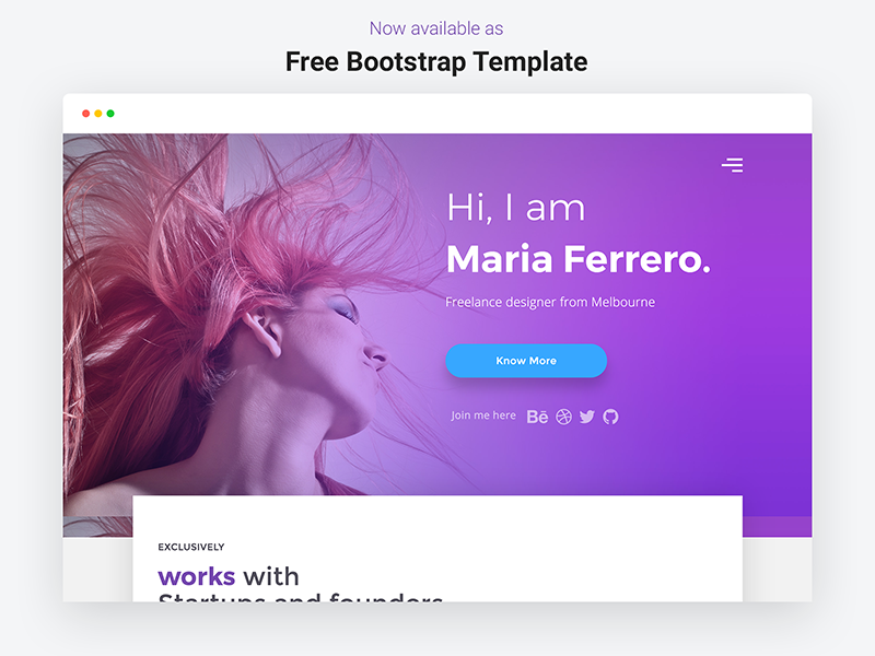 Download Free Bootstrap Template – Portfolio Landing Page