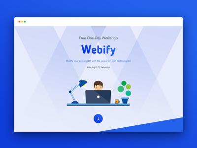 Webify Landing Page by Logik Labs blue illustration website web design logik labs event workshop home page landing page