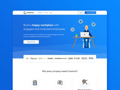 Cavantics Landing Page hero section testimonial features product desktop blue illustration website web design home page landing page