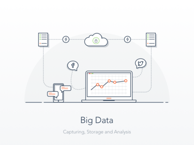 Hero Illustration - Big Data designerdada ui landing page hero section monitor server storage analytics big data illustration