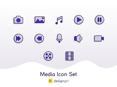 Media Icon Set sketch app sketch simple line icon icon set media icons icon