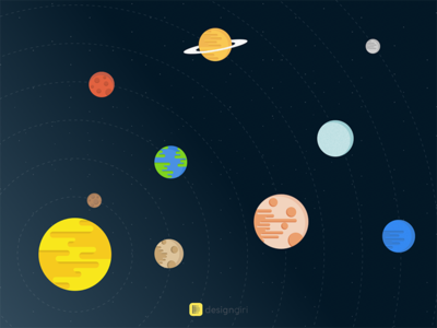 Solar System orbit flat illustration sun planet earth solar system