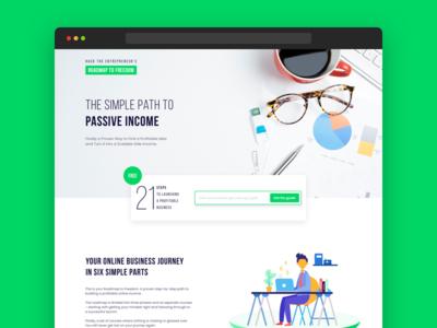 Roadmap to Freedom - Landing Page Design startup business testimonial website ui illustration ui design web design sales page entrepreneur hero landing page