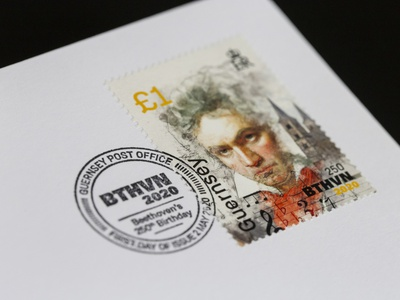 Beethoven 250th Anniversary Stamps guernsey stamps guernsey post guernsey anniversary 250th philitelic stamps beethoven