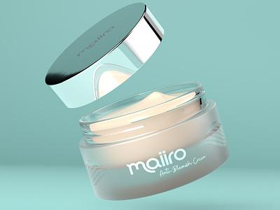 Maiiro Skincare Cream Render cinema4d arnold renderer arnold packaging design foil glass jar cosmetics anti-aging guernsey skincare packaging
