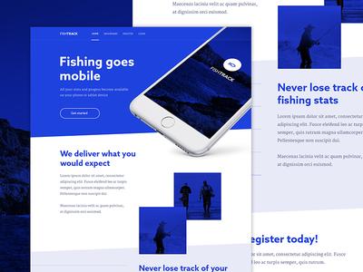 Fishtrack - Landing Page fishing landing page homepage iphone app android app web design design ui design simple violet flat blue