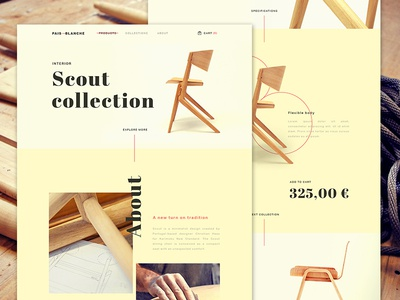 Pais Blanche - Product Page hero ui parallax wood chair furniture product landing page flat simple web design