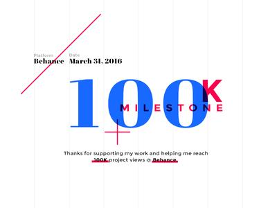 100 Thousand thank you thanks freelance portfolio self promo promo shot followers type typography behance