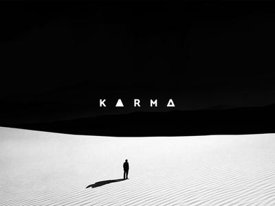 Karma - Art Direction art direction logo typography identity brand branding negative sand white black karma