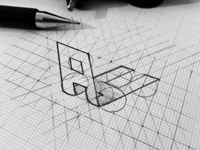 Monogram Sketch grid pencil logotype mark monogram sketch symbol identity personal