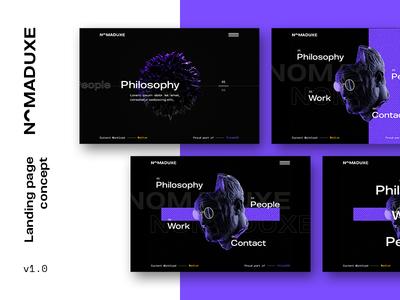 NomadUXE — Landing Page Concepts google design typography 3d navigation brutalist design brutalism wegbl ux ui landing page landing concept