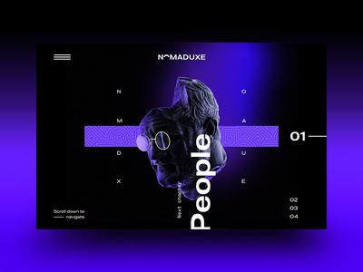 NomadUXE — Landing v2.02 ux ui google typography render webgl minimal landing gradient dark brutalist design brutalism