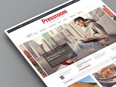 Pressroom - News and Magazine WordPress Theme template magazine news responsive boxed flat clean article newspaper review dark light