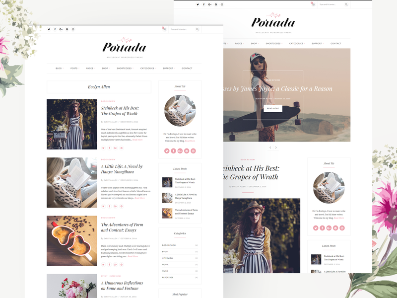 Portada - Elegant Blog WordPress Theme elegant female feminine blogger magazine fashion lifestyle blog theme wordpress