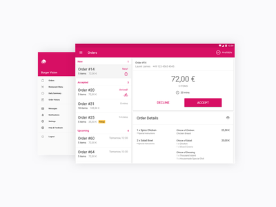 Foodora Restaurant App material tablet dashboard android tablet