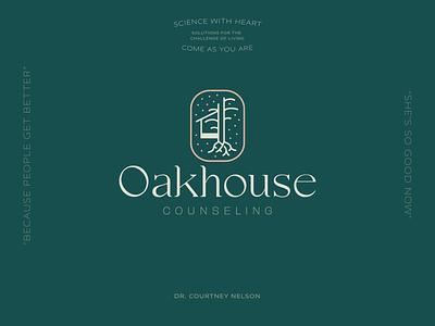 Oakhouse Counseling brand design courtney dallas brand identity oak tree botanical feminine science psychology branding lines dots oak counselor brand