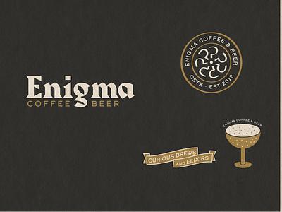 Enigma Coffee and Beer cocktails cafe restaurant branding design beergarden beer coffee branding