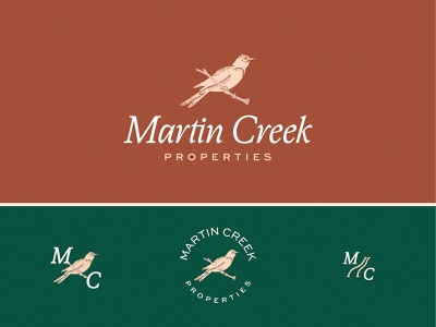 Martin Creek Properties creek river badge mc monogram nest hospitality brand property texas rustic italic terracotta blush mansion airbnb perch bird illustration purple martin